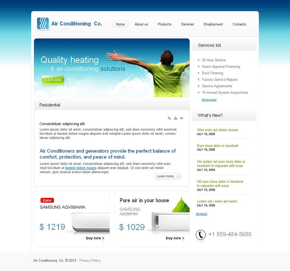 Air Conditioning Moto CMS HTML Template New Screenshots BIG