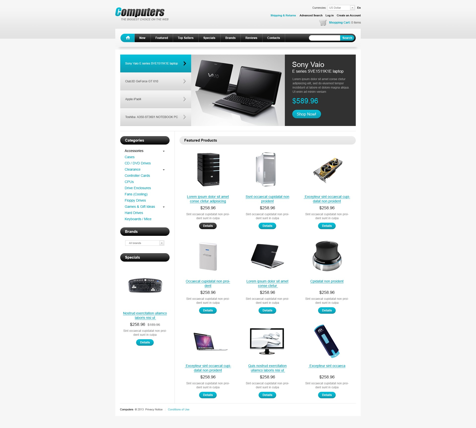 computers web store oscommerce template 43333