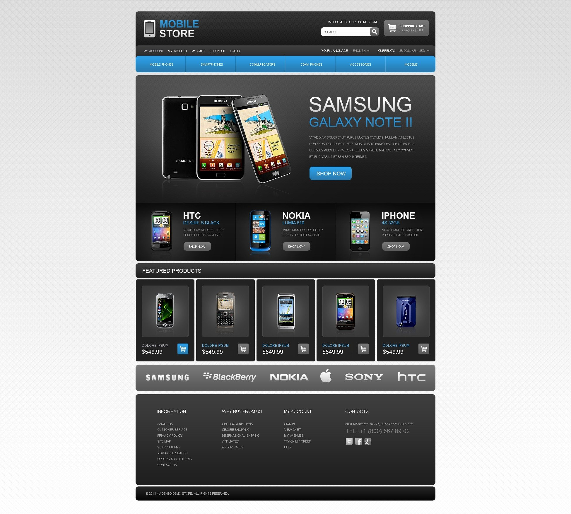 Dark Mobile Phone Theme Magento
