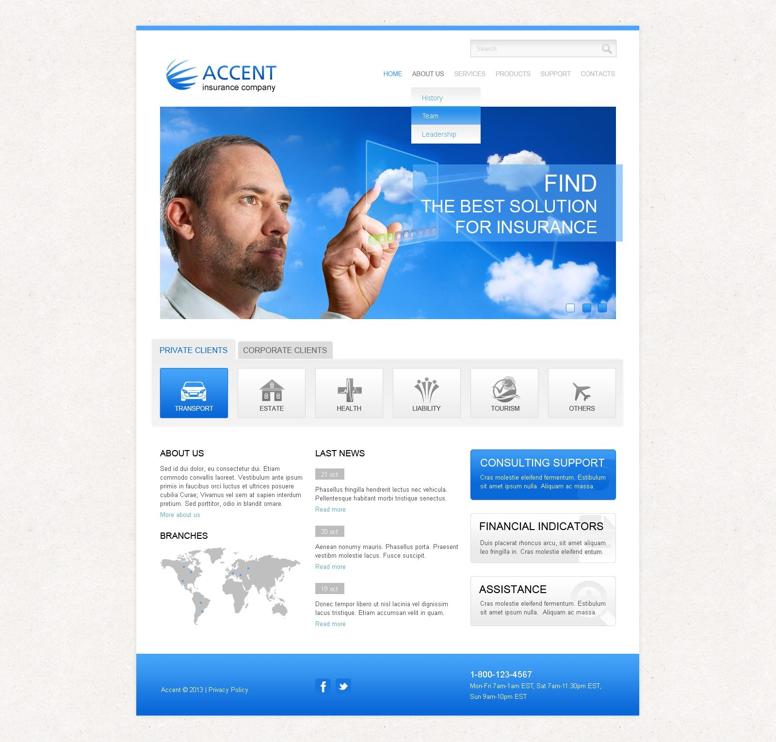 Insurance Responsive Website Template 43328