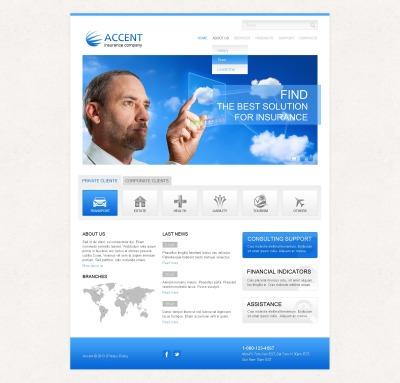 Modèle Web adaptatif  pour site de société d'assurance #43328