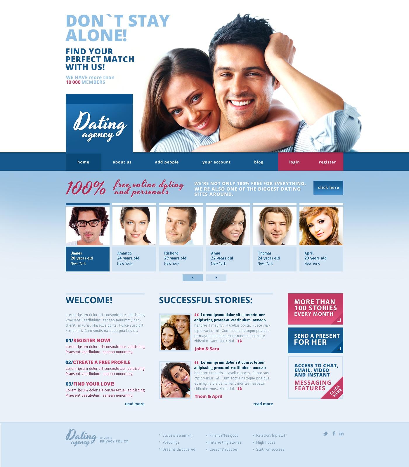 Responsive Website Vorlage für Partnersuche #43380