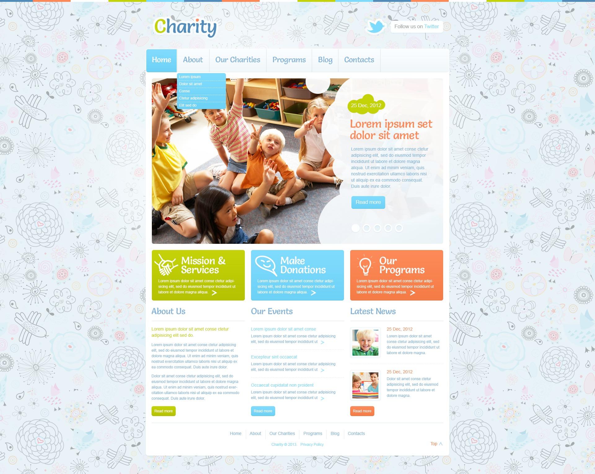 Reszponzív Children Charity WordPress sablon 43375