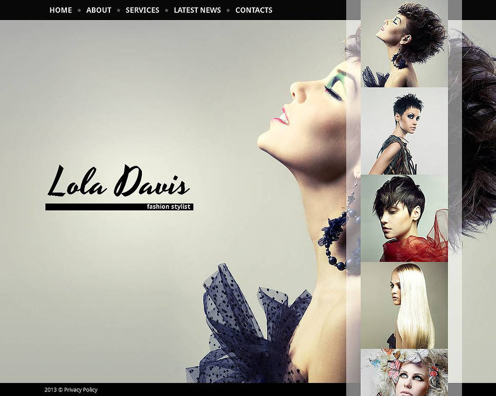 Hair Salon Website Template with Vertical Strip of Thumbnails - image
