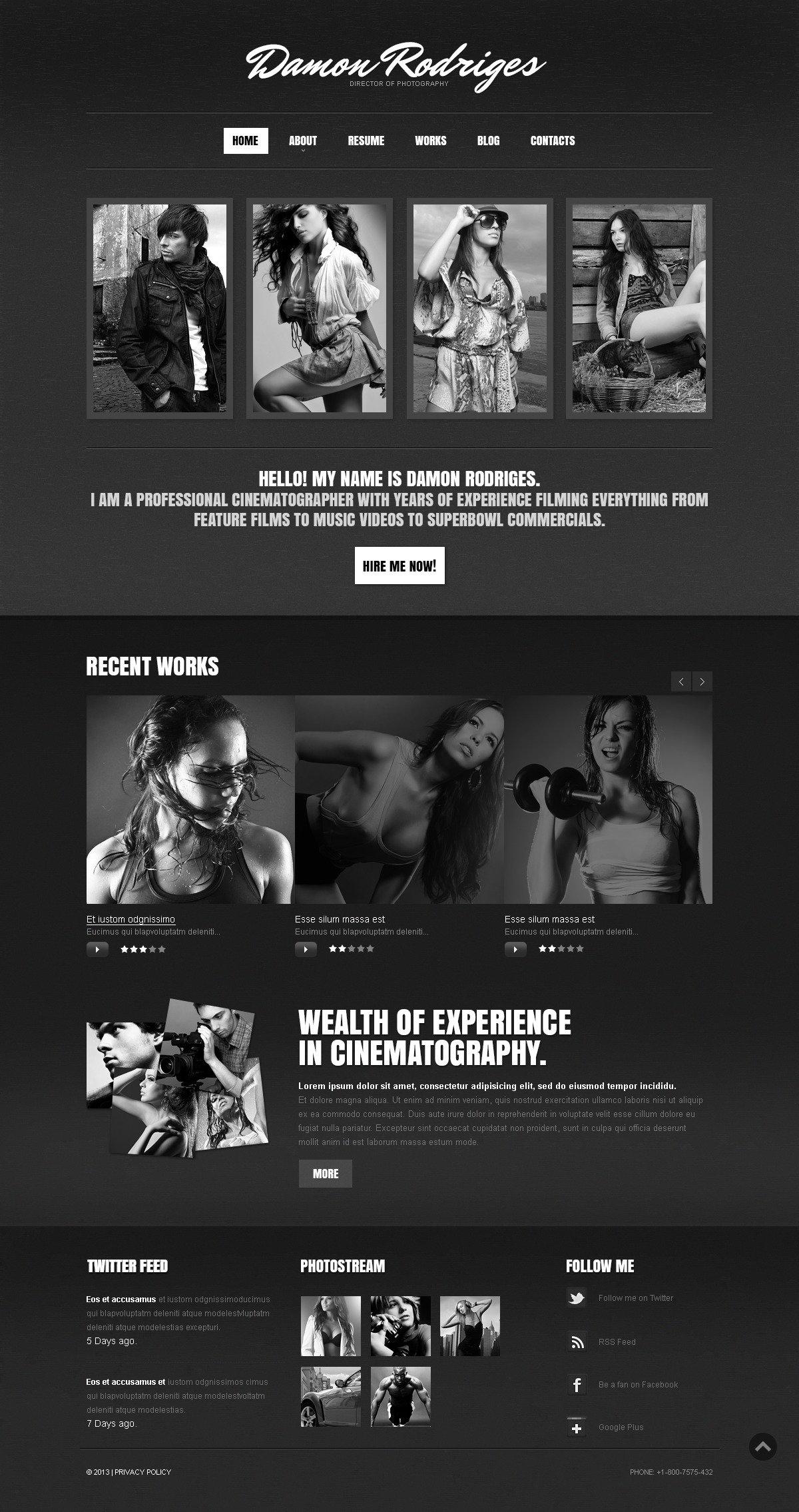 Noir Photographer Portfolio Drupal Template - screenshot
