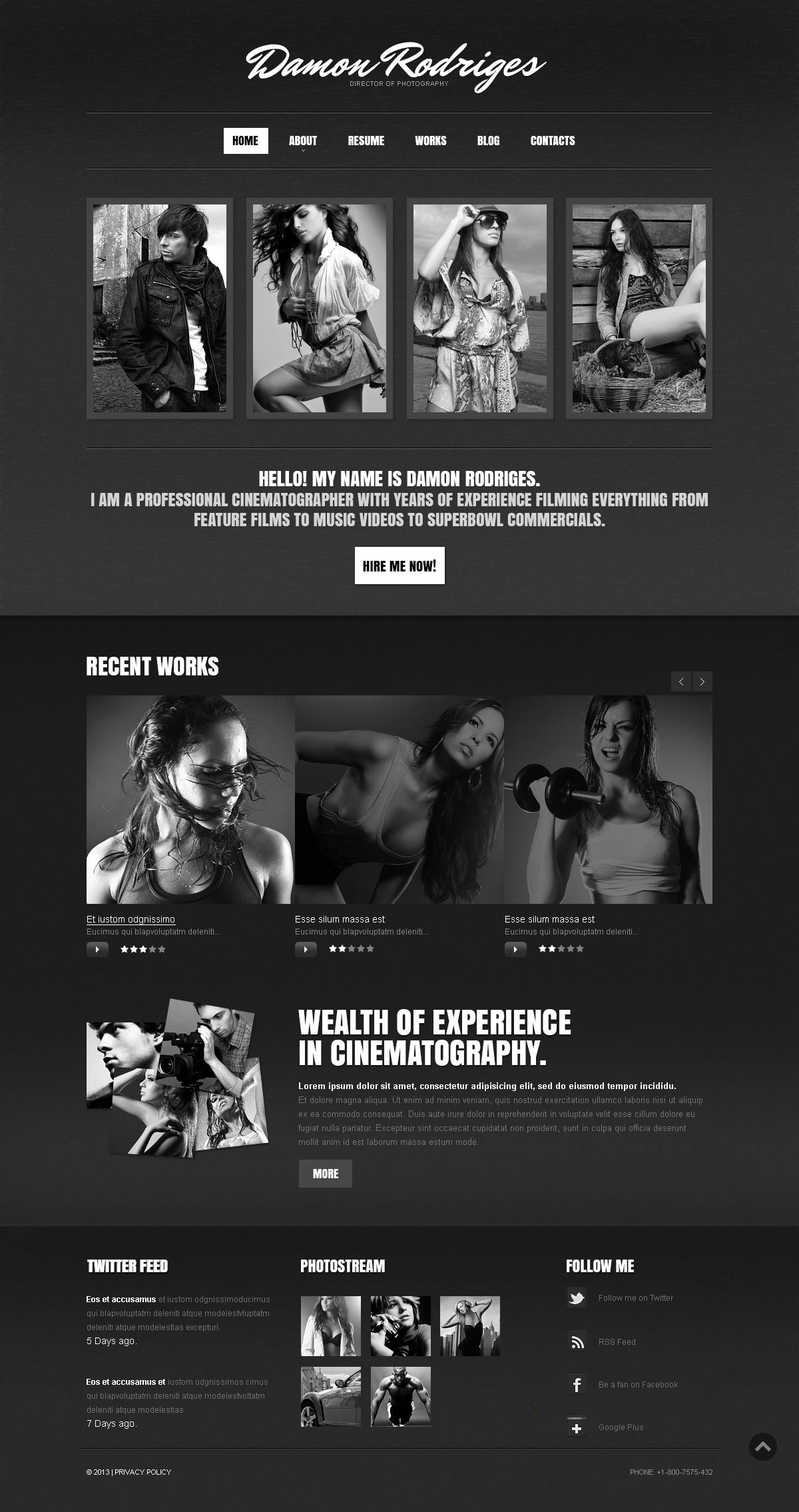"""""""Portfolio photographe en noir"""" thème Drupal  #43457"""