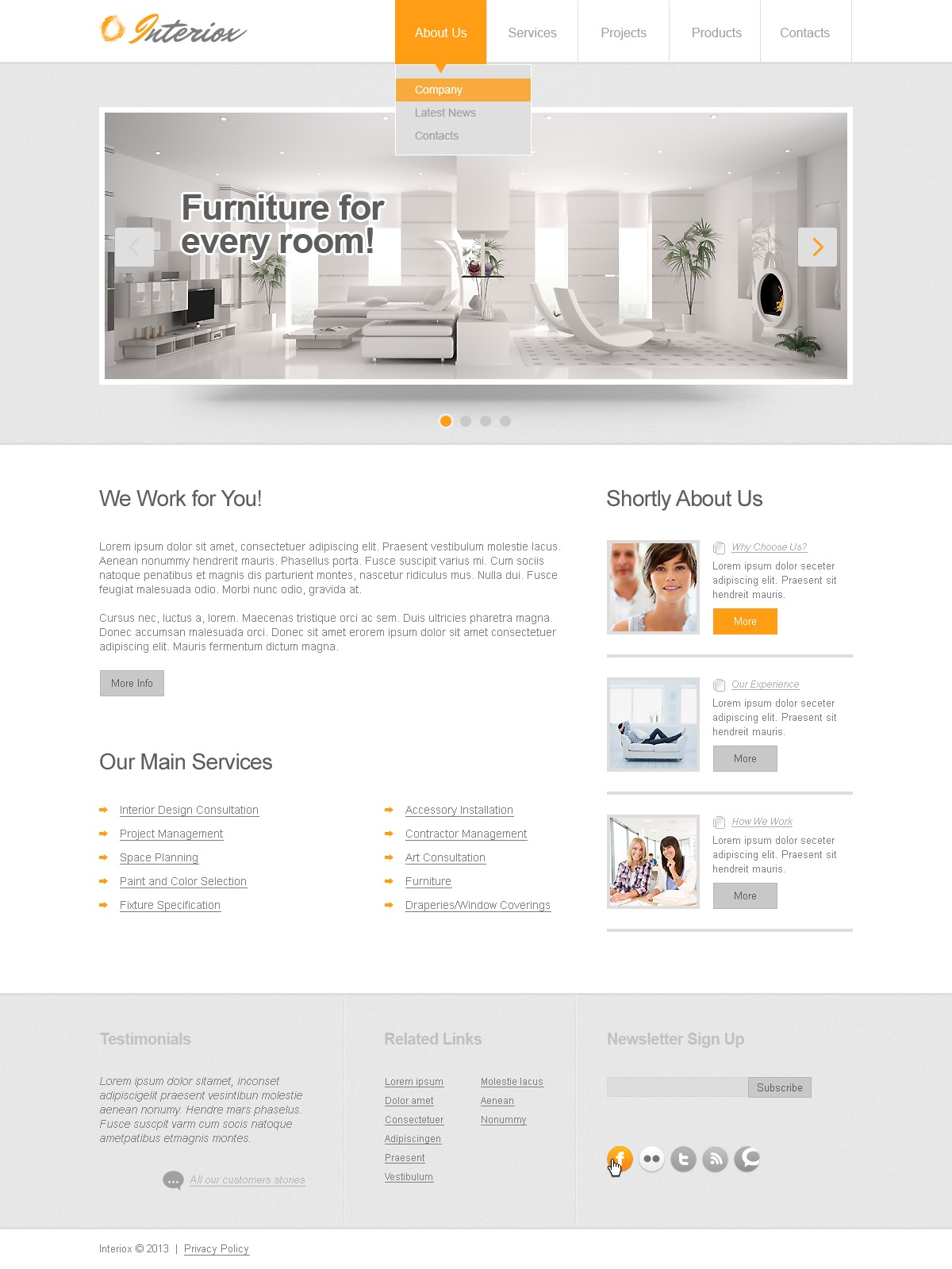 Responsive Website template over Interieur-design №43489