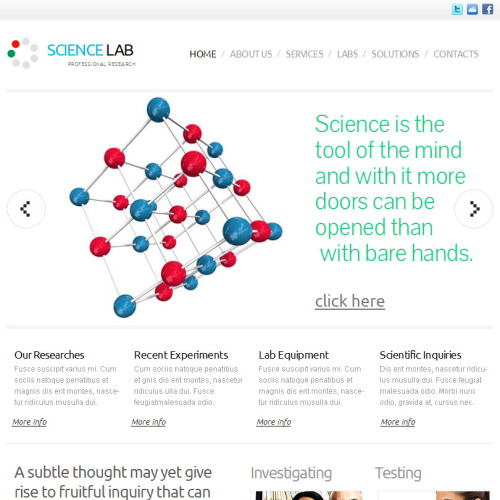 Science Lab - Facebook HTML CMS Template