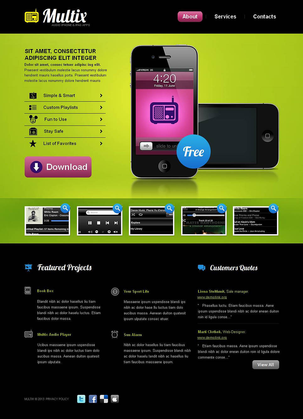 Lime-Green Website Template for Mobile Software Developers - image