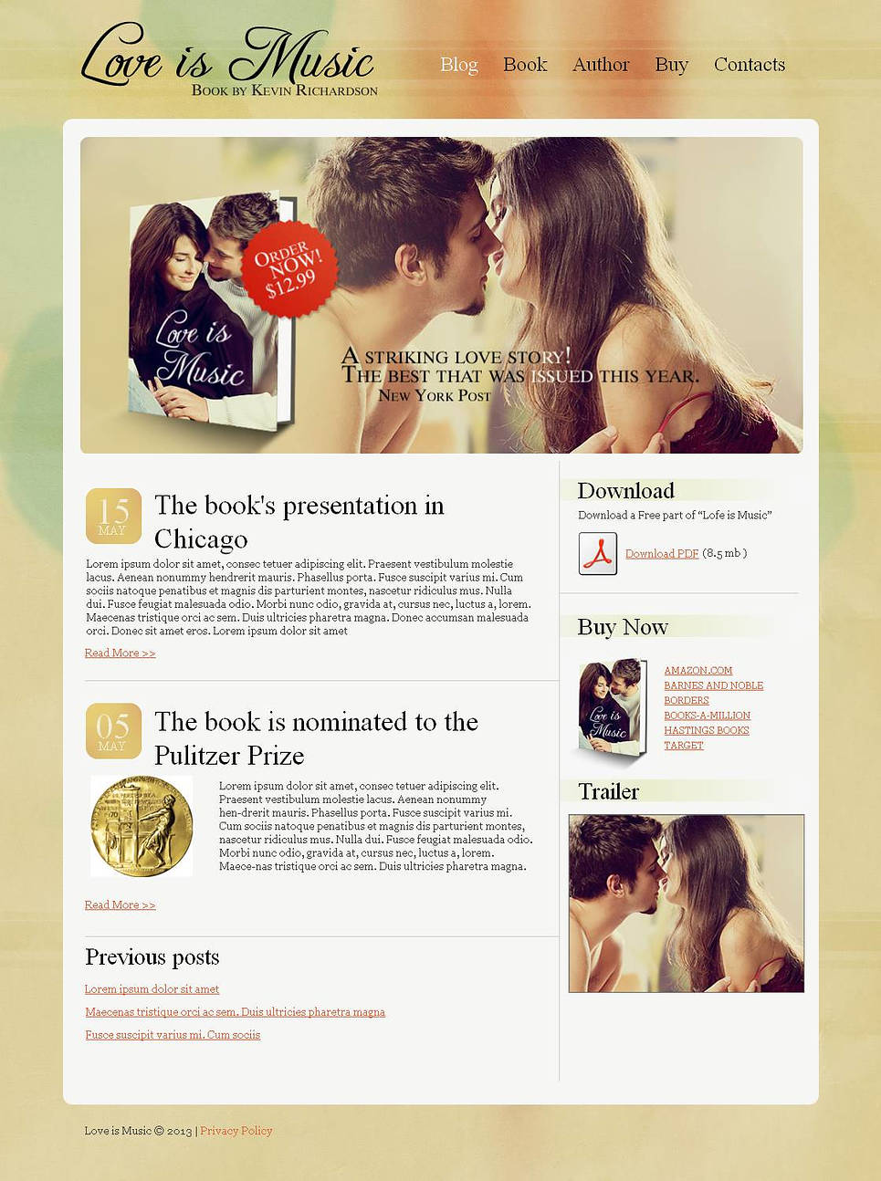 Book Website Template with Calm and Warm Background - image