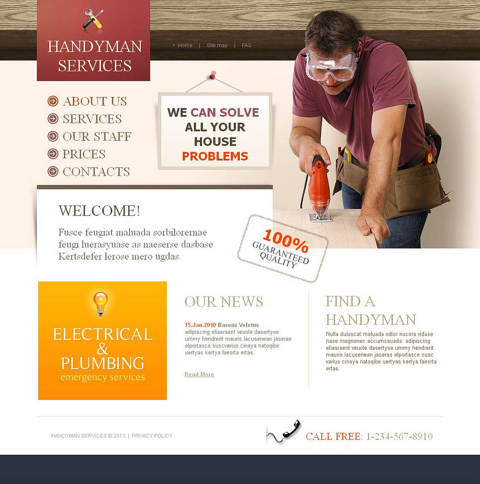 Handyman Services Website Template with 3D Image Effect - image
