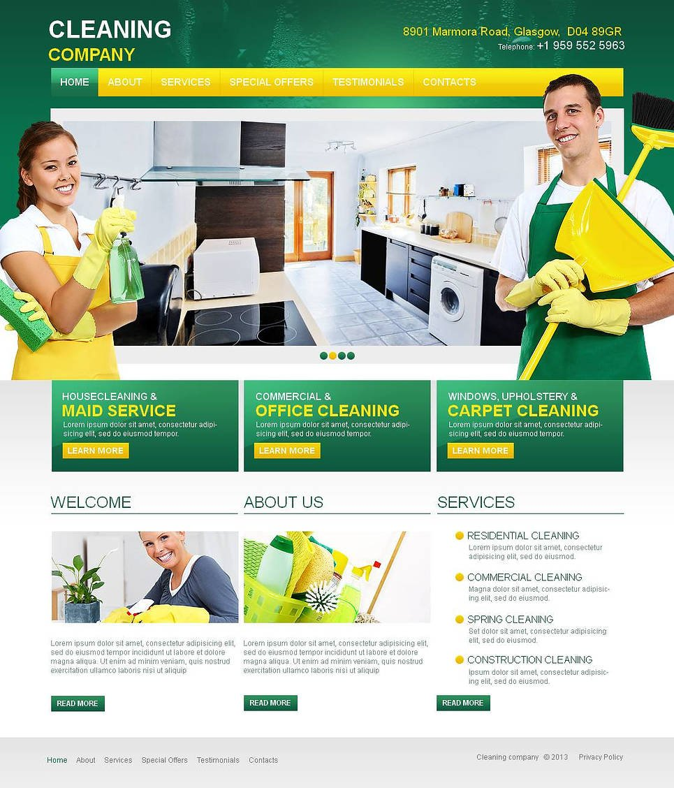 Cleaning Company Template Designed in Green and Yellow Colors - image