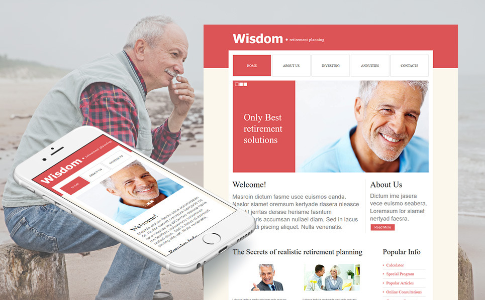 Szablon Moto CMS HTML #43519 na temat: planowanie emerytury New Screenshots BIG