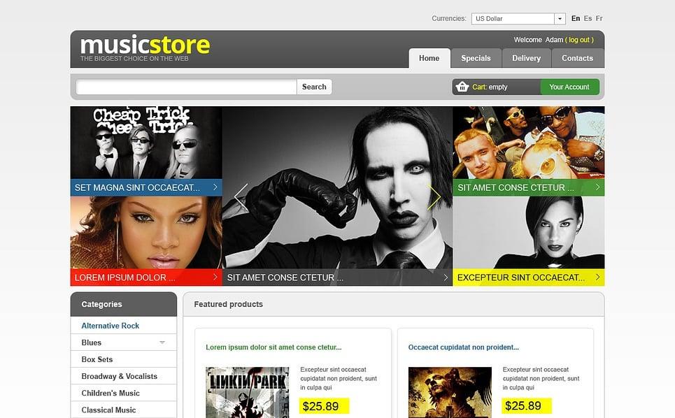 "PrestaShop Theme namens ""Musikshop "" New Screenshots BIG"