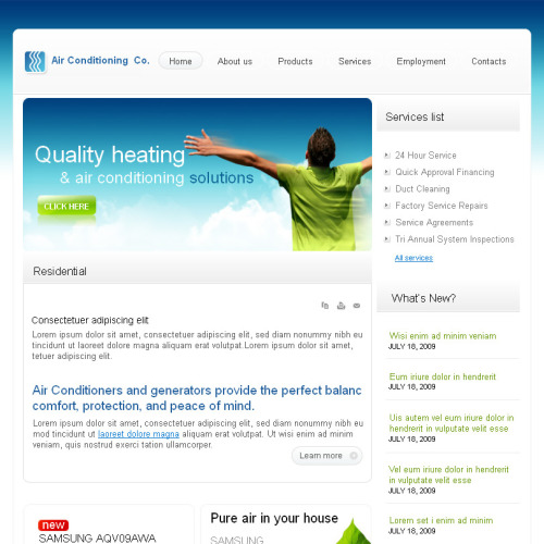 Air Conditioning Co - Facebook HTML CMS Template