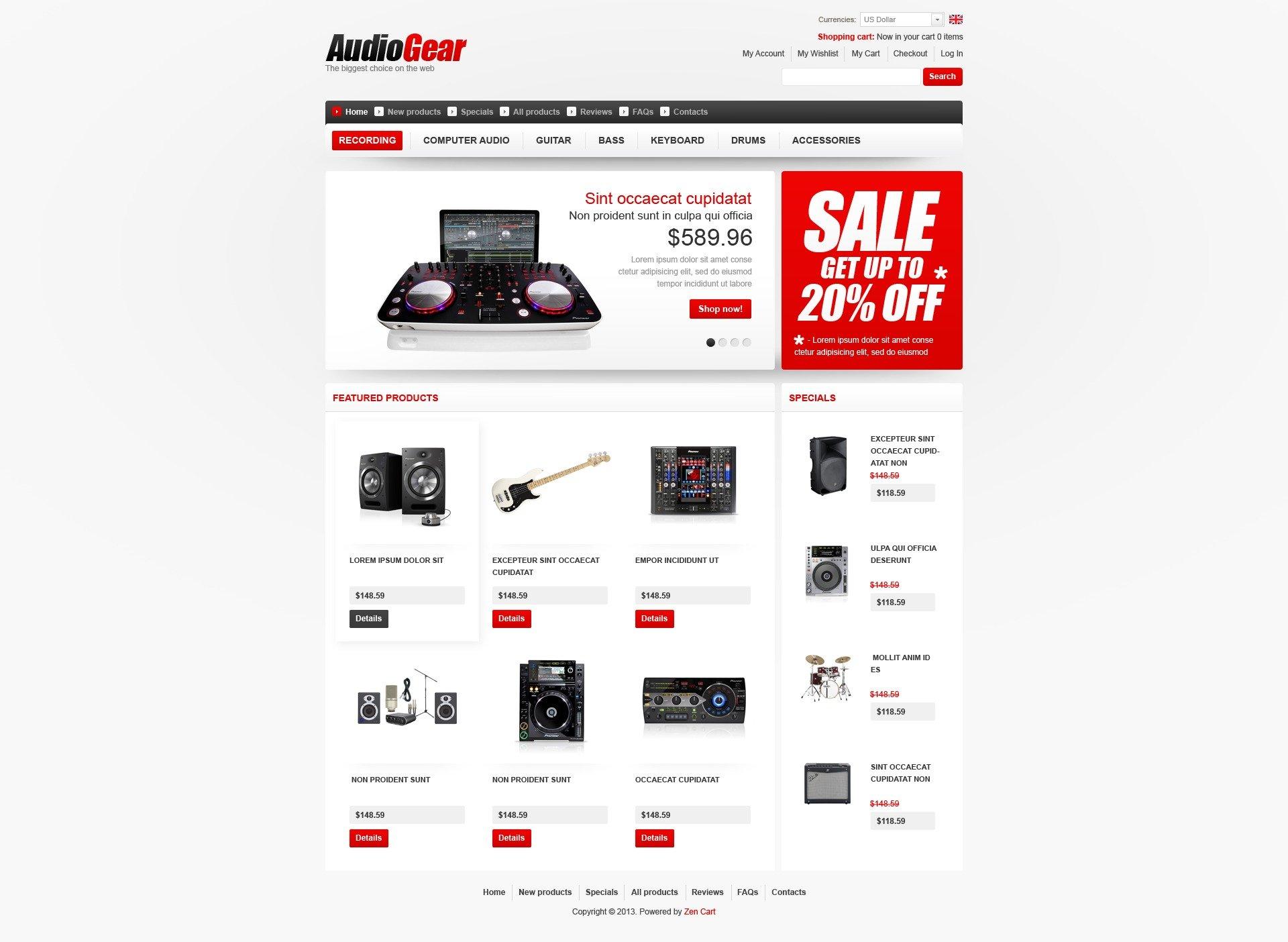 Audio Gear ZenCart Template - screenshot
