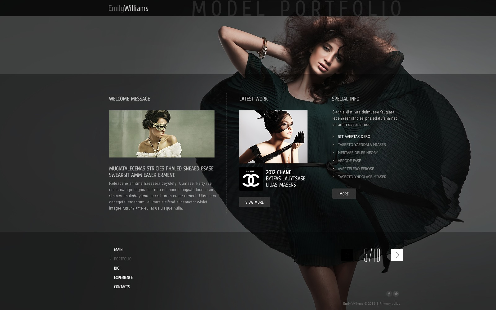 model portfolio website template  43587