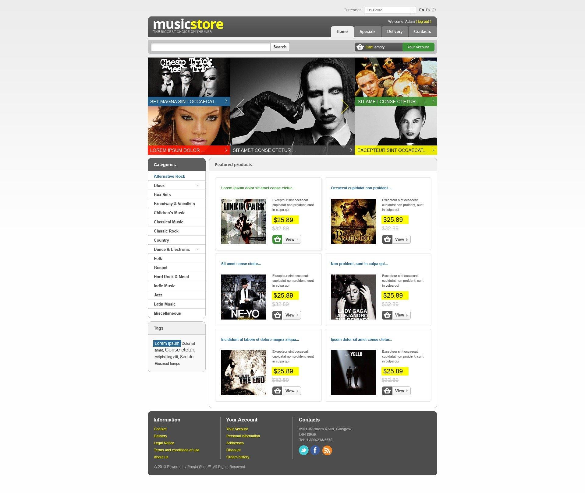 """Modello PrestaShop #43577 """"Negozio di Musica"""" - screenshot"""