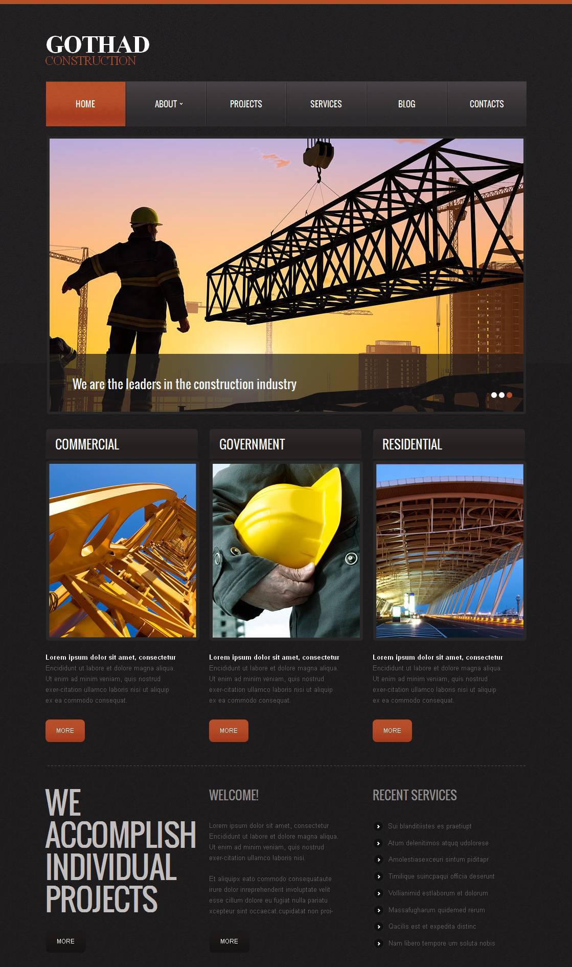 Moto CMS HTML Vorlage für Baufirma #43521