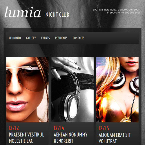 Lumia Night Club - Facebook HTML CMS Template
