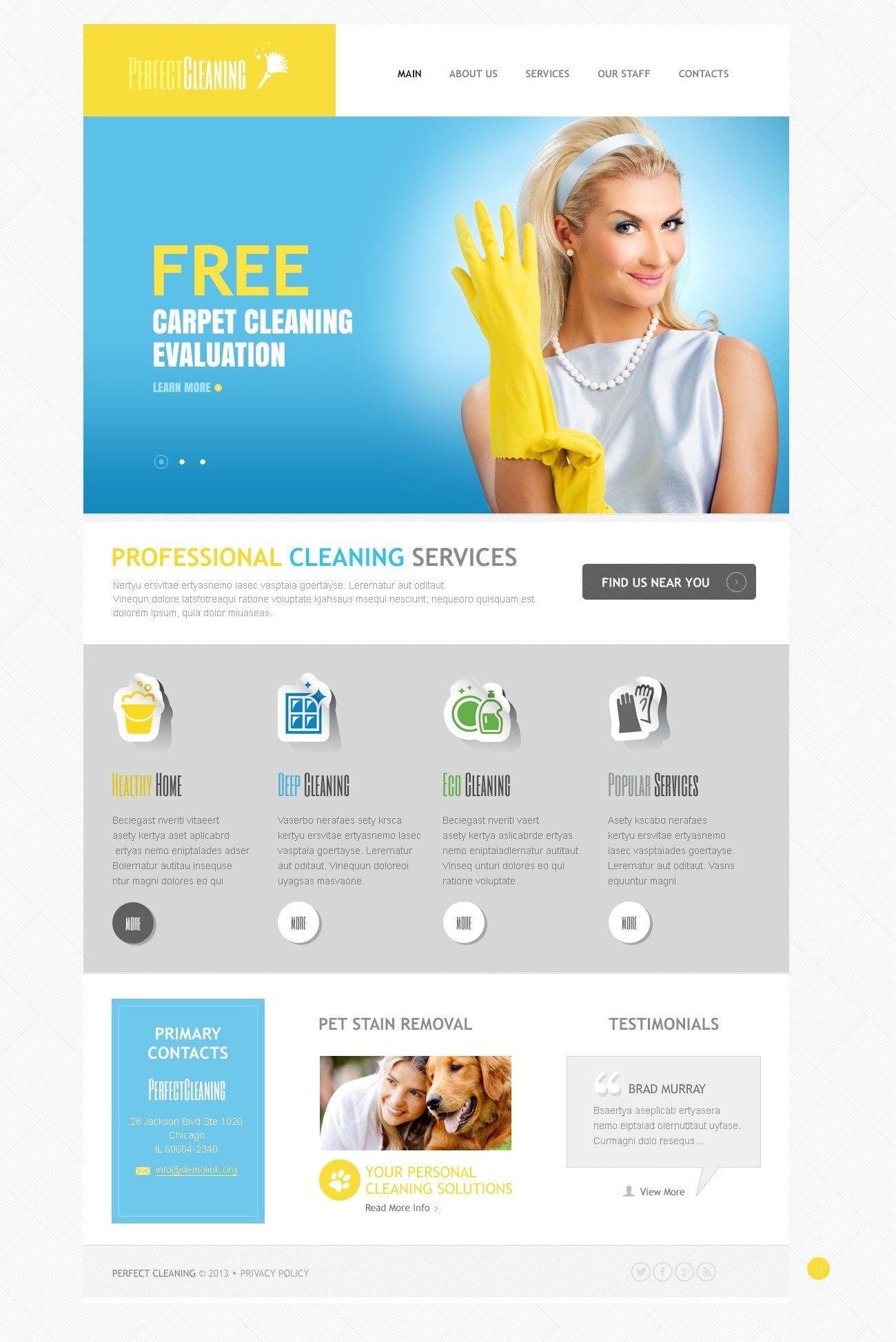 """Responsive Cleaning"" Drupal Template №43572 - screenshot"