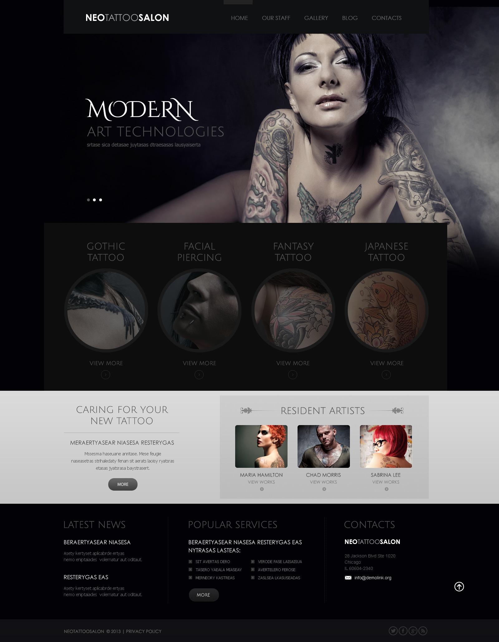 """Responsive Tattoo Salon"" 响应式WordPress模板 #43569"