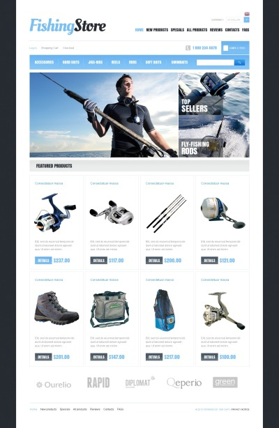 ZenCart шаблон №43570 на тему рыбалка