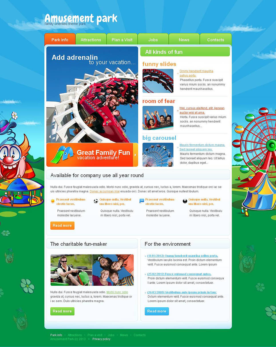 Amusement Park Website Template with Image Background - image