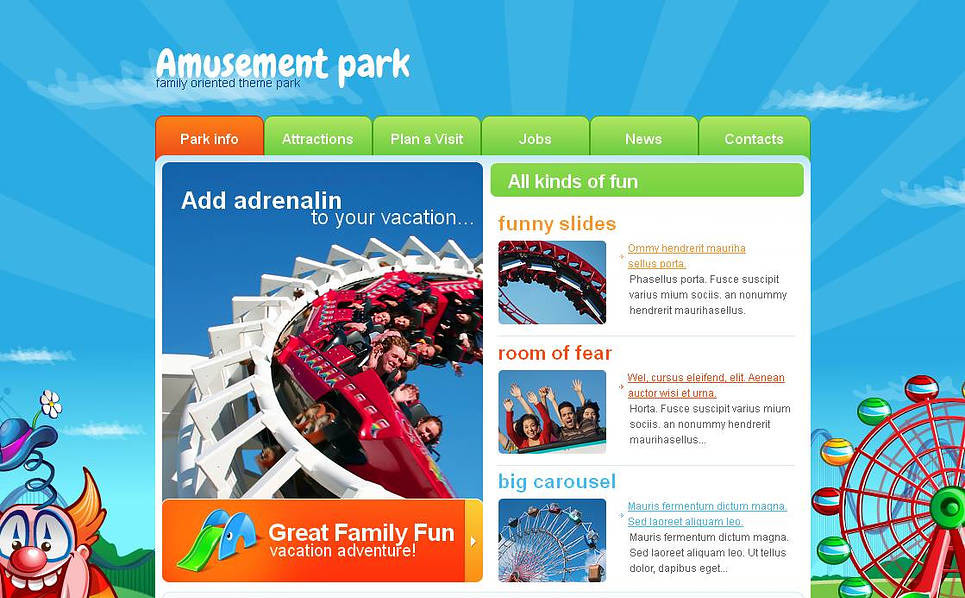 Premium Moto CMS HTML Template over Pretpark  New Screenshots BIG