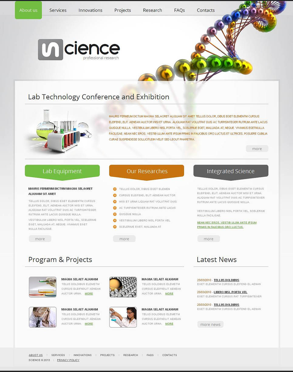Science Web Template in Light Tones - image