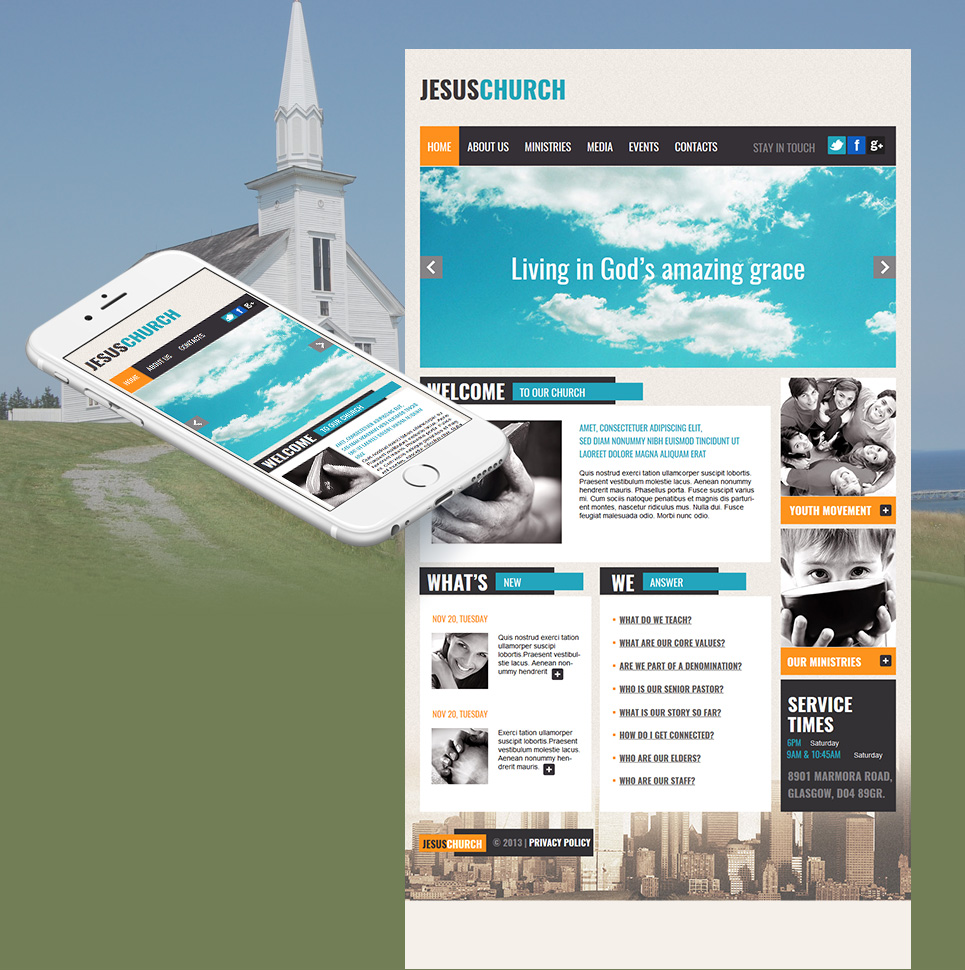 Church and Non-Profit Organization Website Template with Image Slider - image
