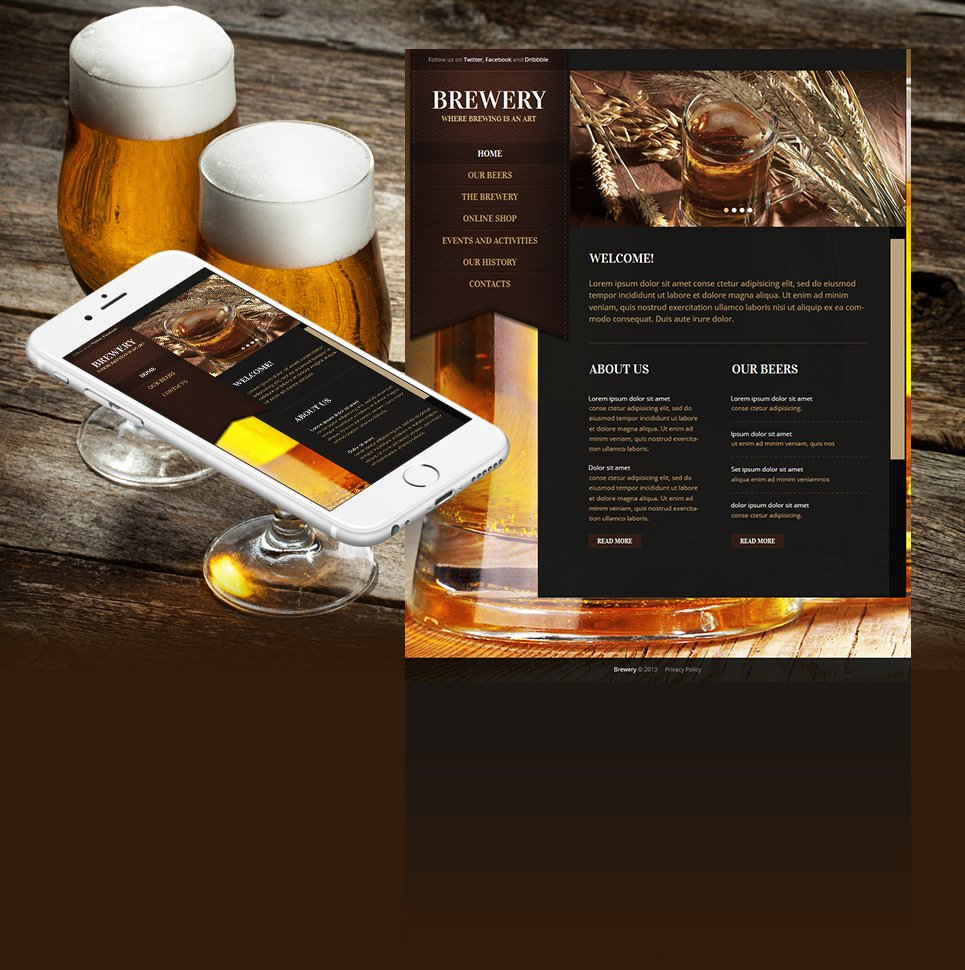 Brewery Website Template with Photo Background and Vertical Menu Bar - image