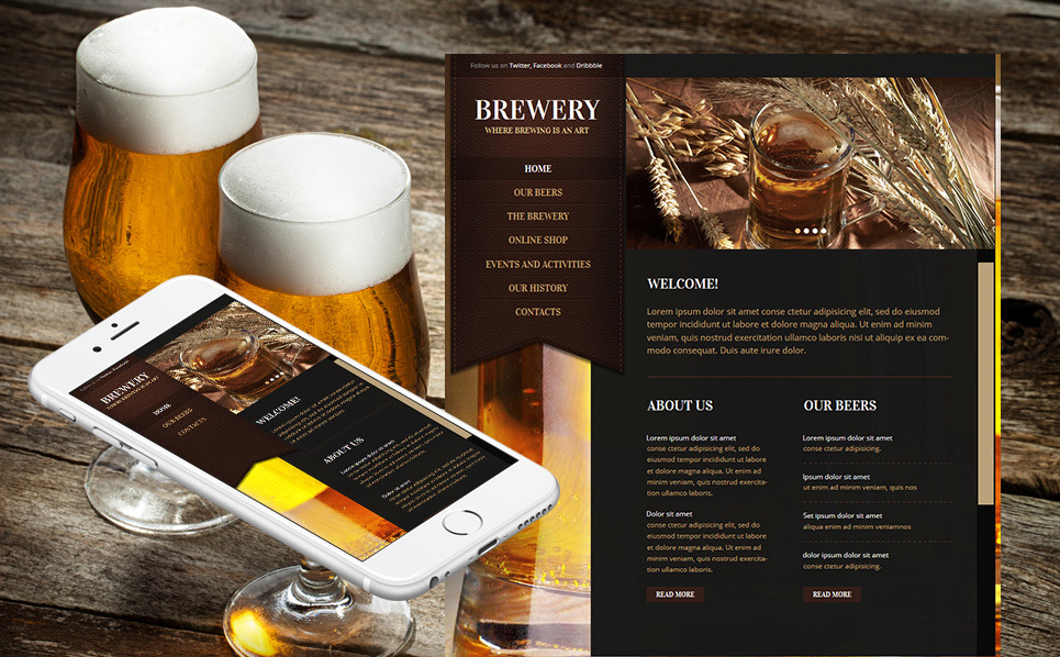 Modèle Moto CMS HTML  pour site de brasserie New Screenshots BIG