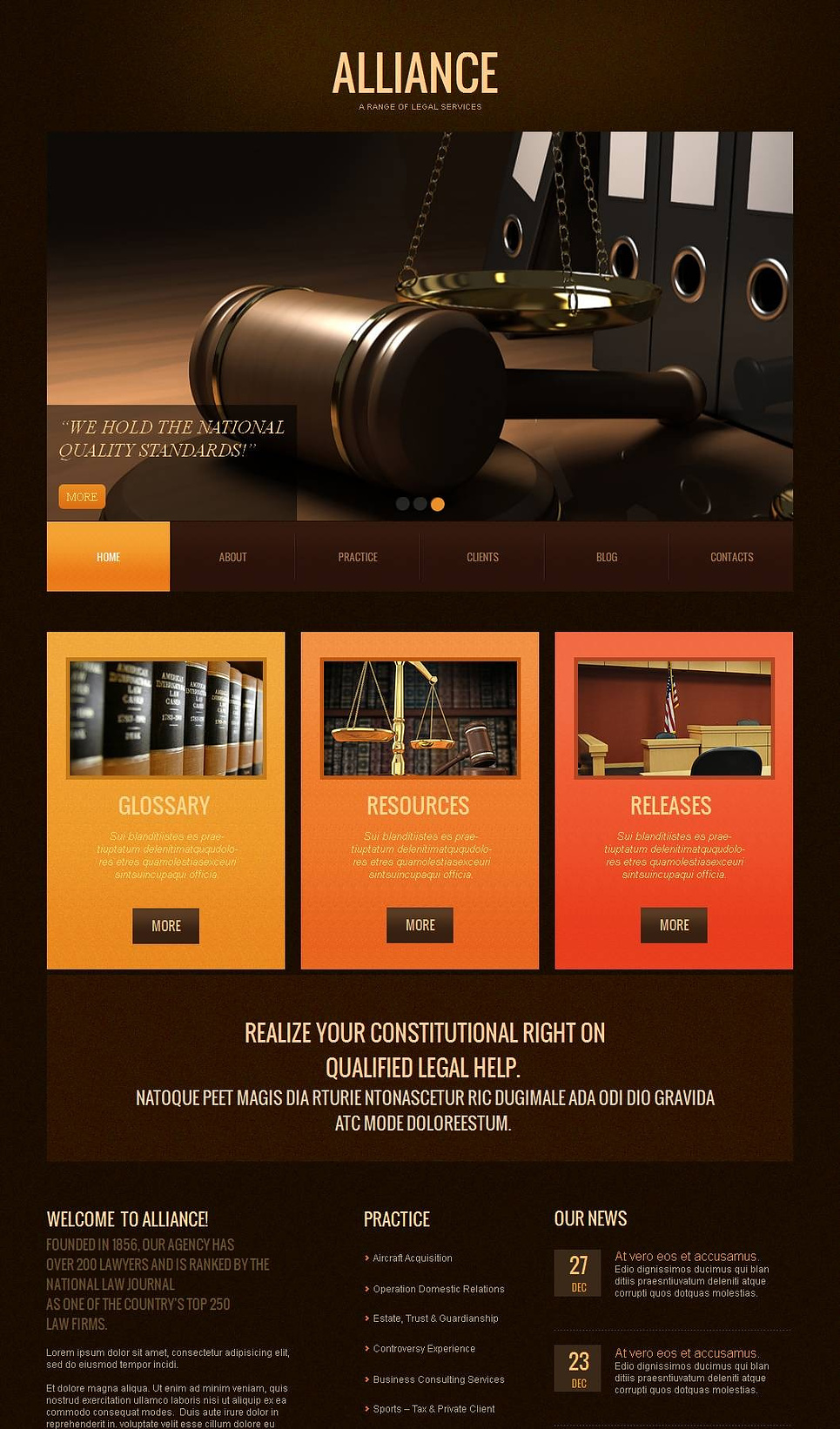 Lawyer's Web Template with Zoom Effect in the Image Slider - image