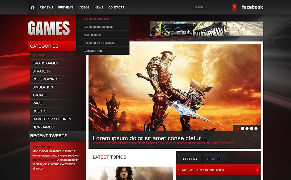Website template over Spelletjes  New Screenshots BIG