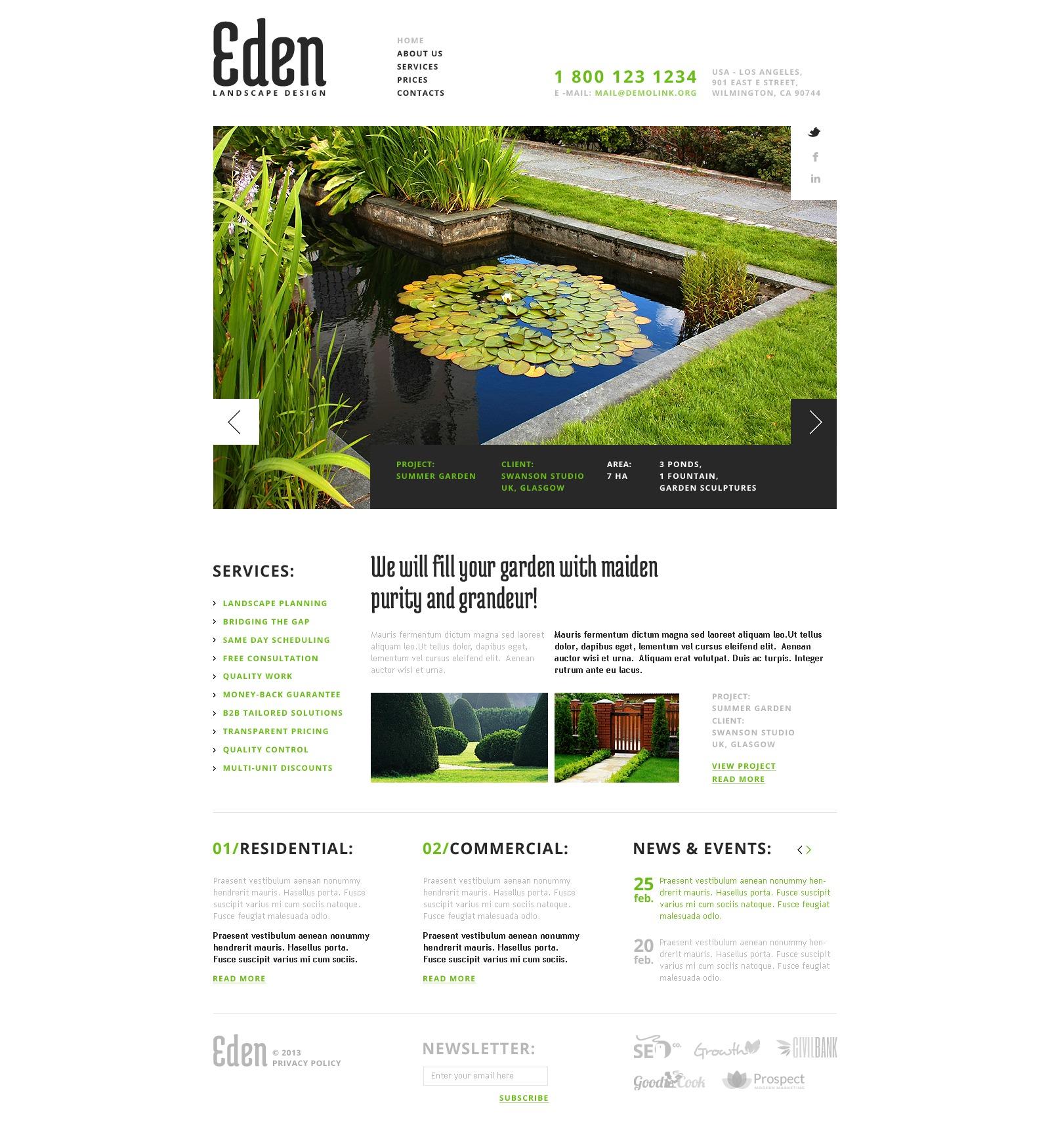 Адаптивный HTML шаблон №43643 на тему ландшафтный дизайн - скриншот