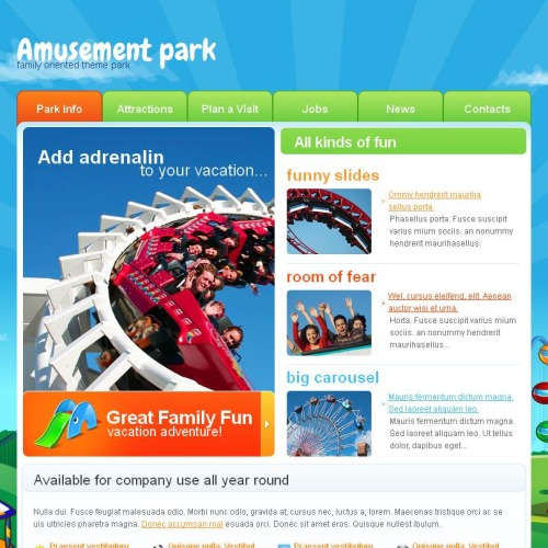 Amusement Park - Facebook HTML CMS Template