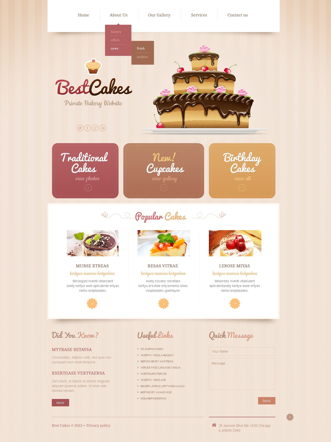 Responsive Bakery Website Templates