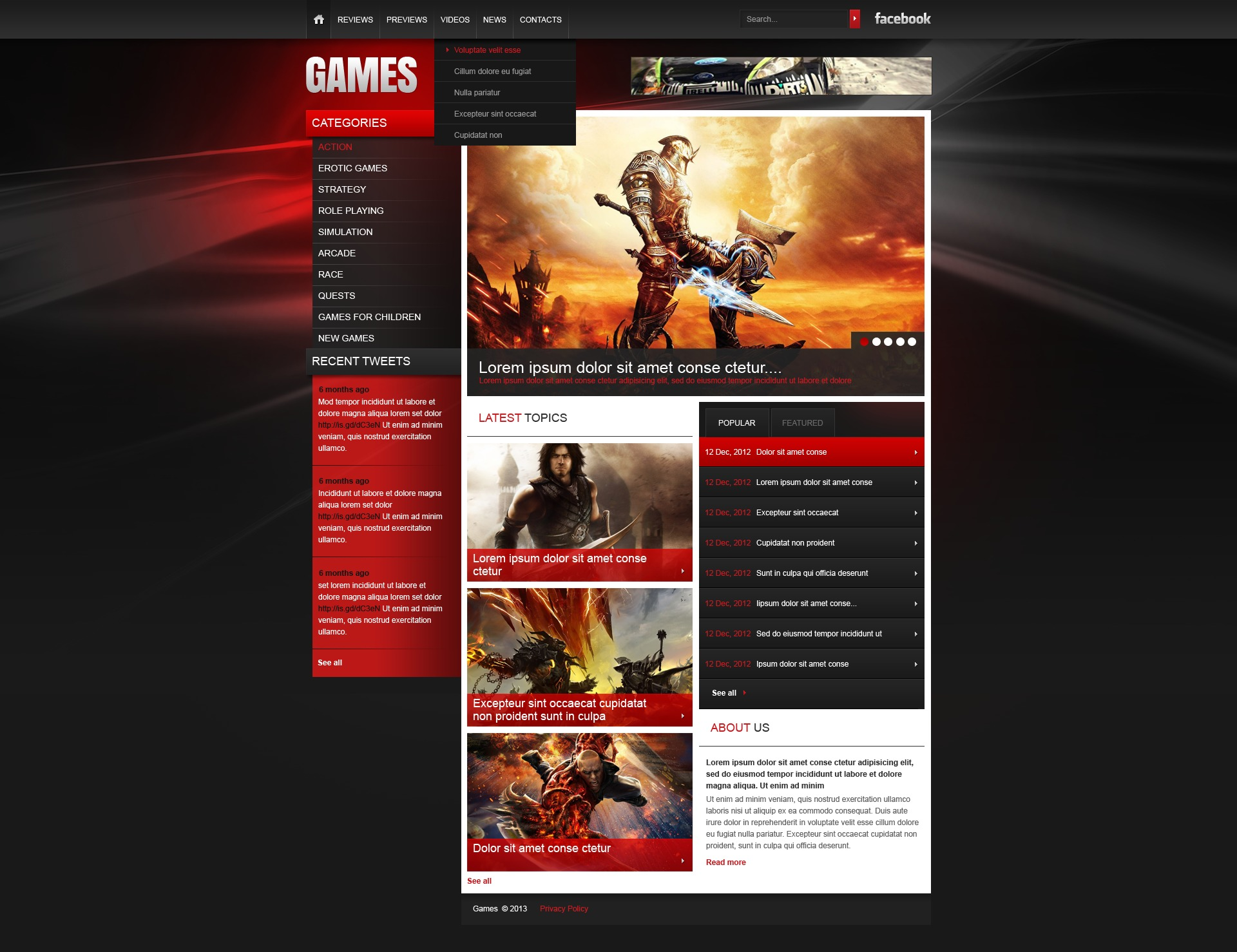 Games Website Template - Gaming website template