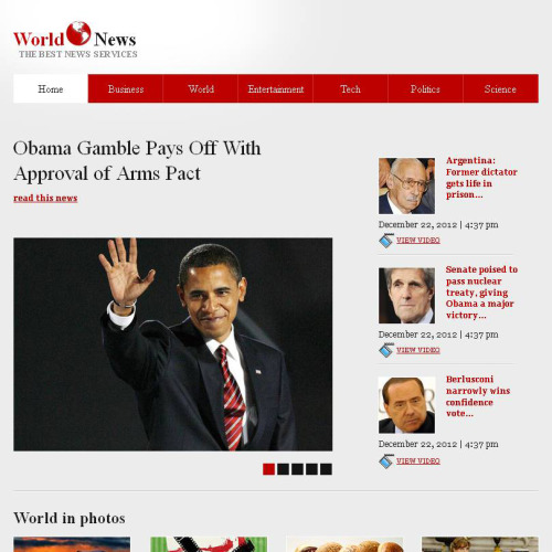 World News - Facebook HTML CMS Template