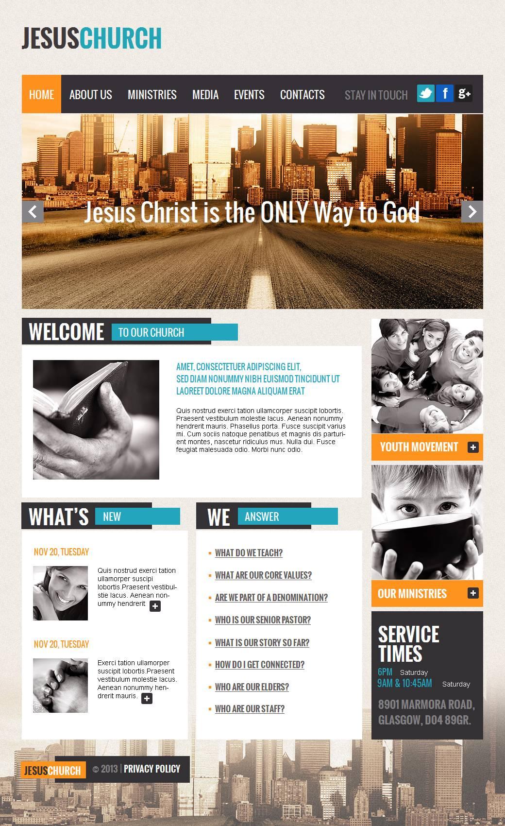 Tema Moto CMS HTML #43659 per Un Sito di Cristianismo