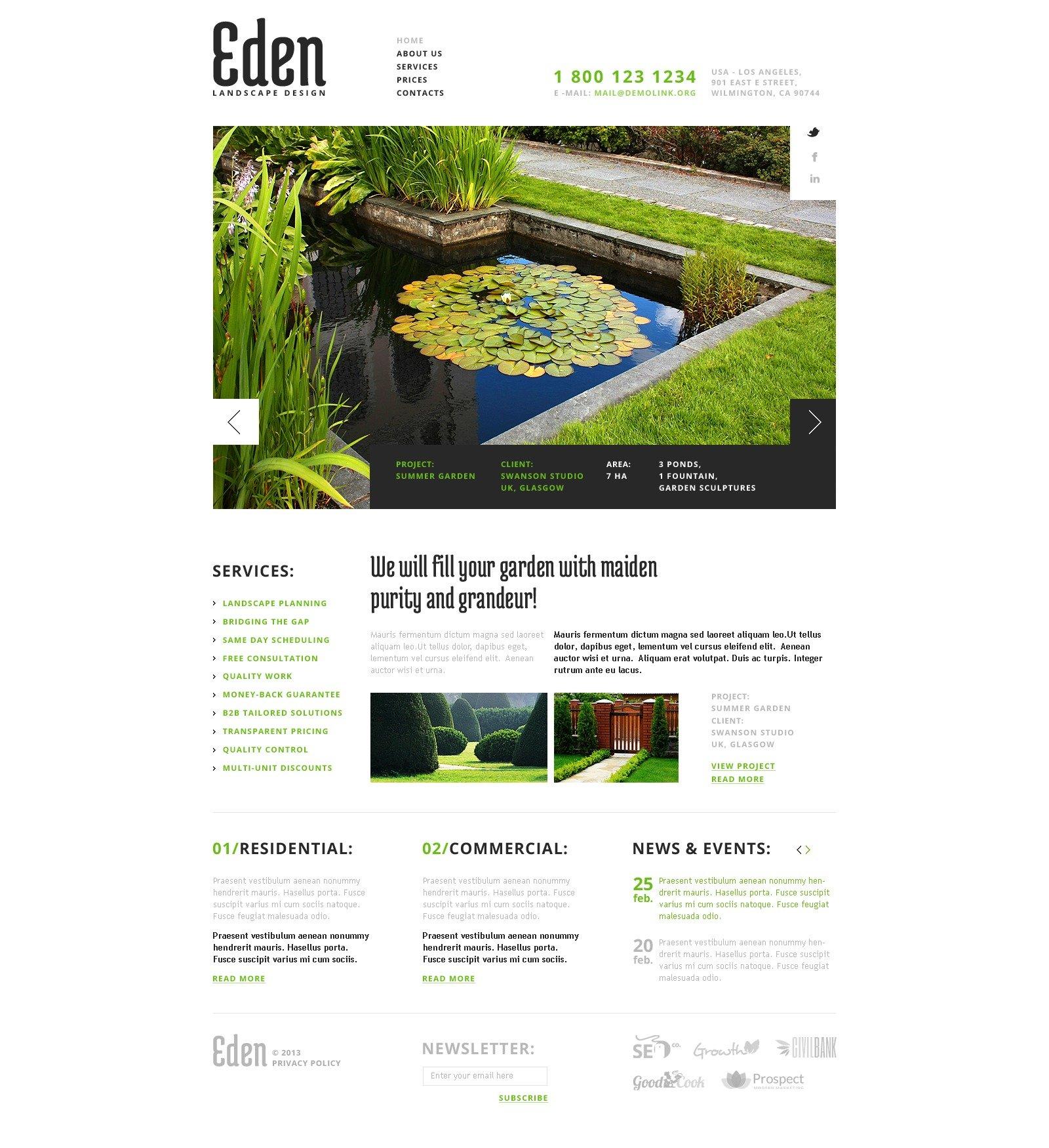 Template Web Flexível para Sites de Design de Paisagem №43643 - captura de tela