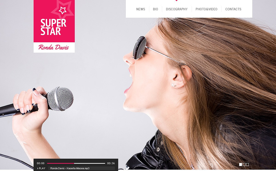 Tema Flash CMS  #43746 per Un Sito di Cantante New Screenshots BIG