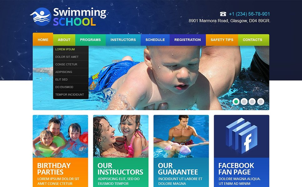 Адаптивний Шаблон сайтів на тему плавання New Screenshots BIG