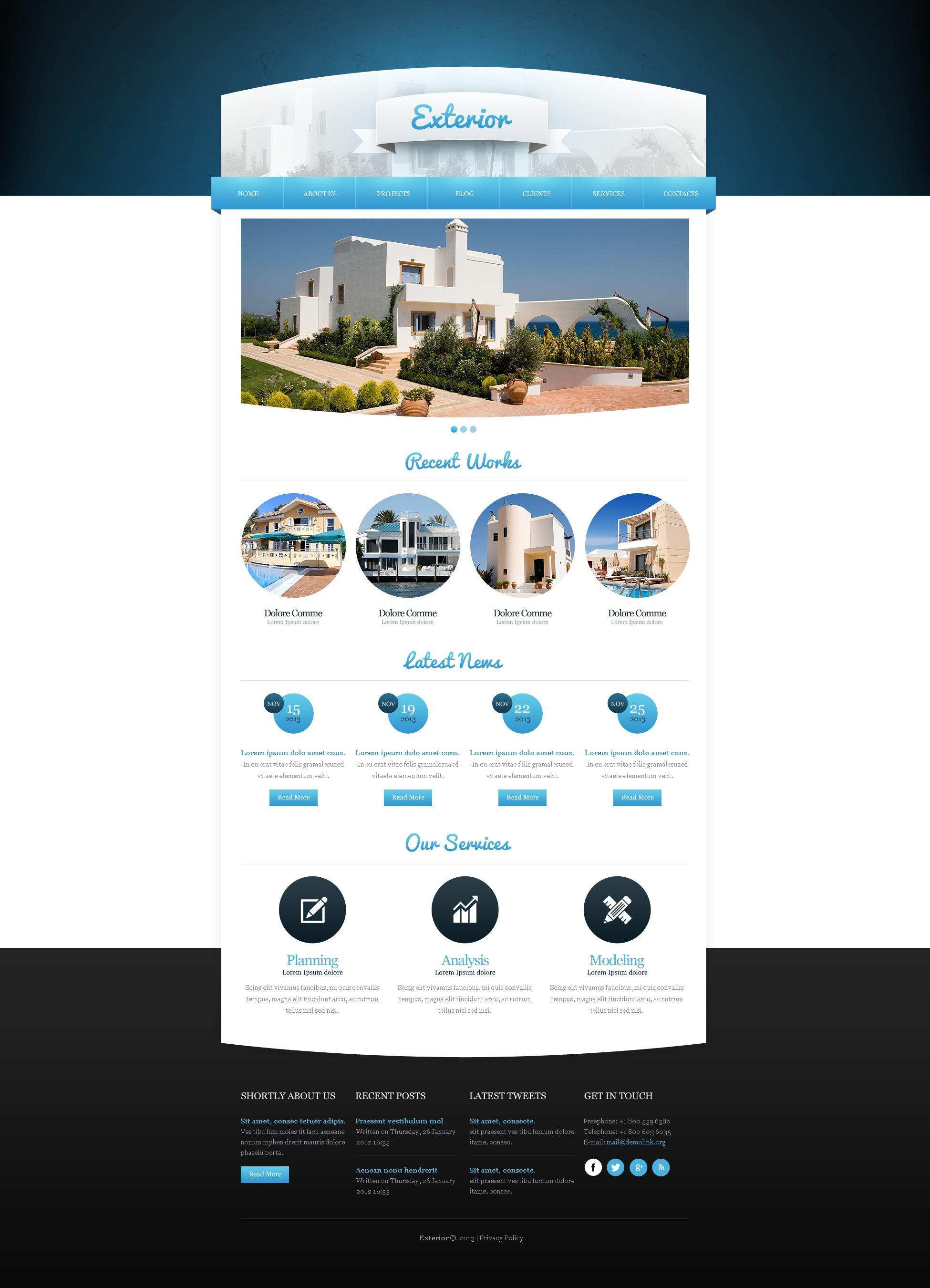 Exterior home design joomla template 43782 for Exterior design templates