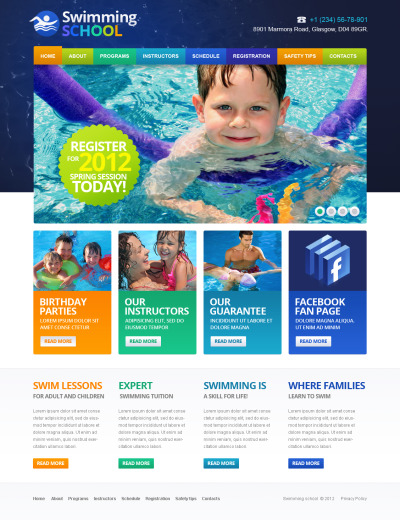 Swimming Flash CMS шаблон