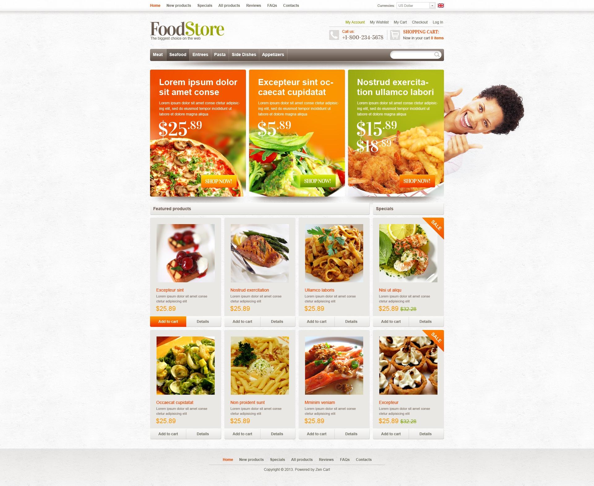 """Food Store"" ZenCart模板 #43748"
