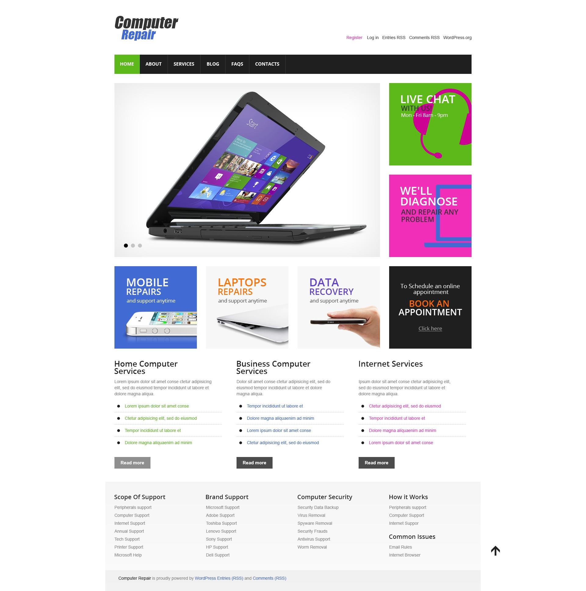 Reszponzív Cherry Computer Repair WordPress sablon 43749 - képernyőkép