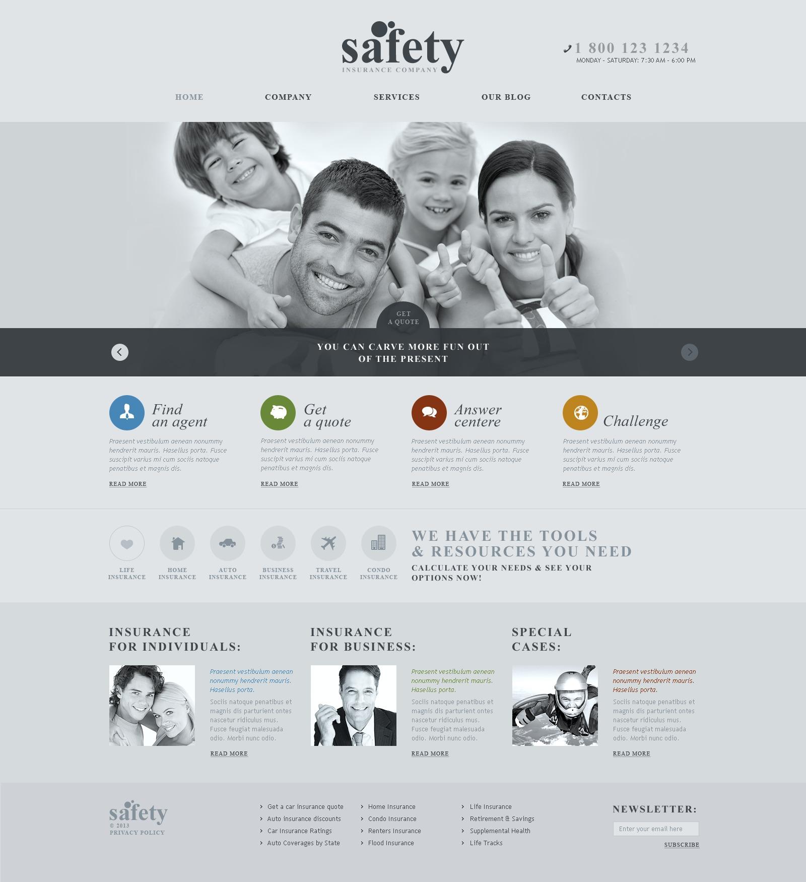 Thème WordPress adaptatif pour site de société d'assurance #43709