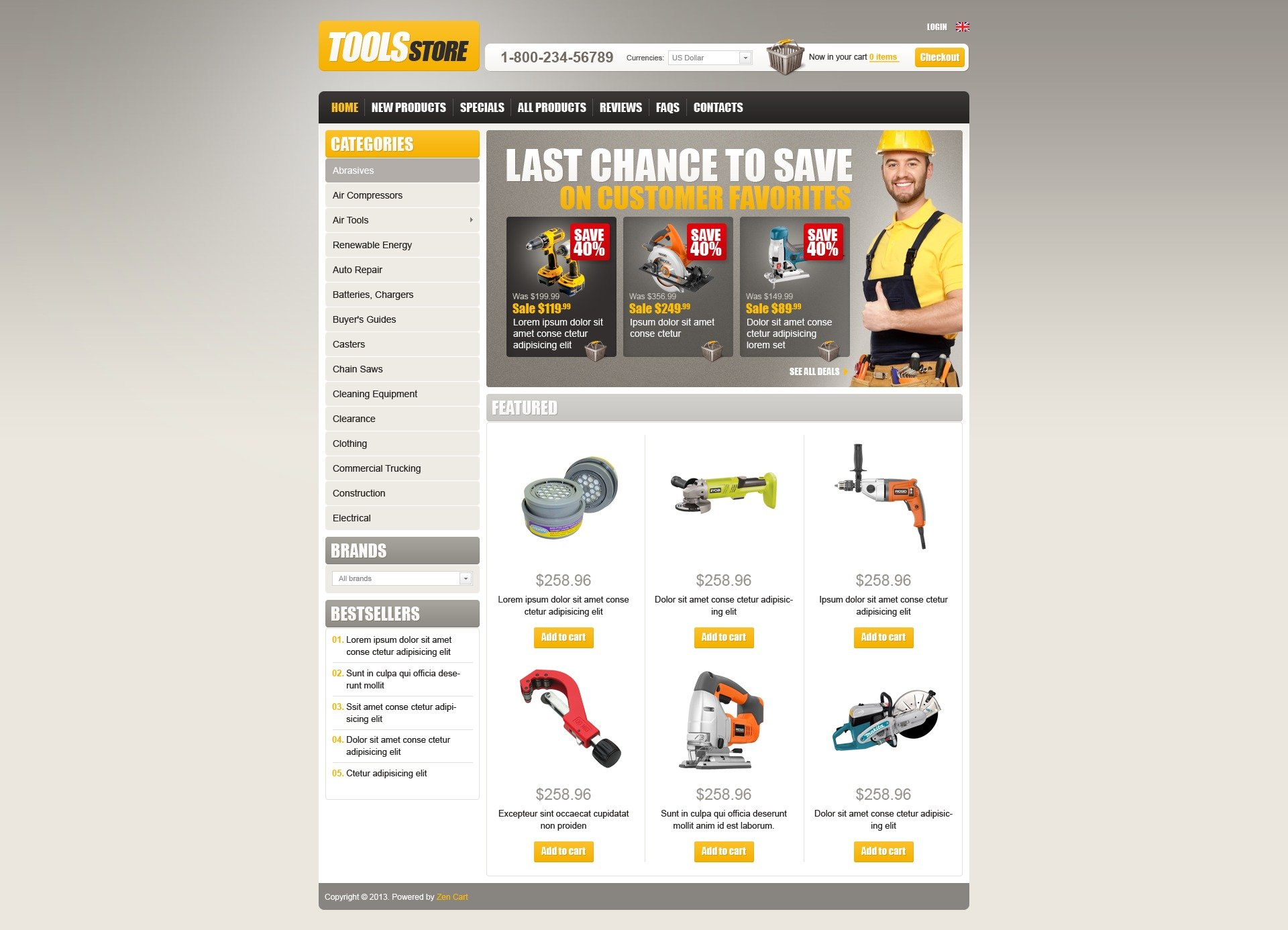 Tools Store ZenCart Template - screenshot